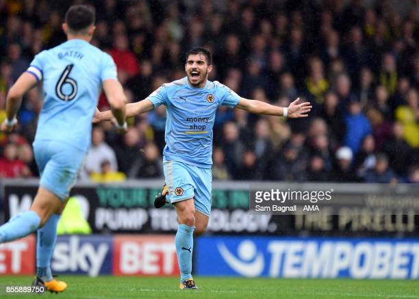 Ruben Neves of Wolverhampton Wanderers celebrates during the Sky Bet Championship match between Burton Albion and Wolverhampton at Pirelli Stadium on...