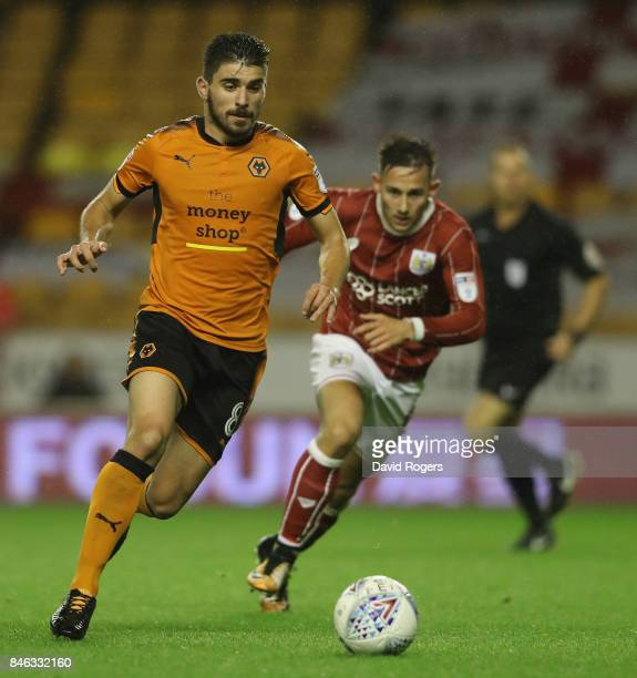 Ruben Neves of Wolverhampton Wanderers runs with the ball during the Sky Bet Championship match between Wolverhampton and Bristol City at Molineux on...