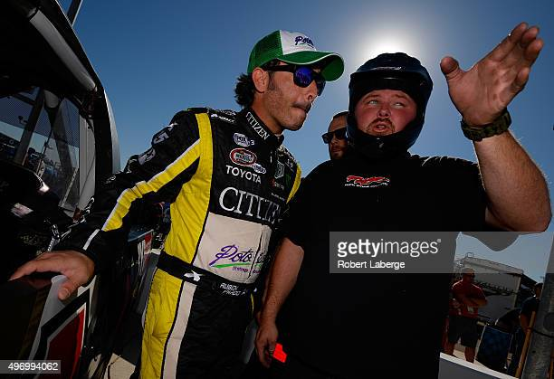 Ruben Pardo driver of the BYB Chevrolet prepares to drive during qualifying for the NASCAR Camping World Truck Series Lucas Oil 150 at Phoenix...
