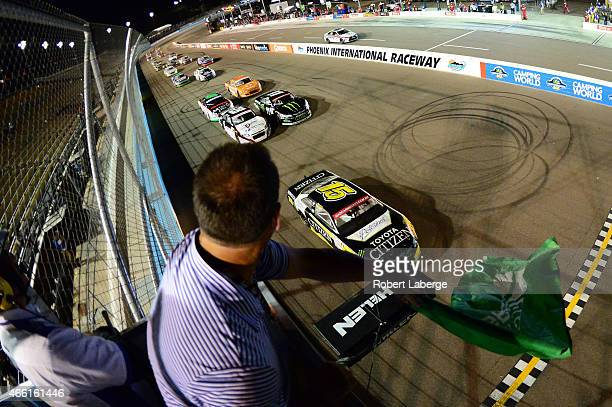 Ruben Pardo driver of the Citizen/Potosinos Toyota leads the field during the NASCAR Mexico Series Toyota 120 at Phoenix International Raceway on...