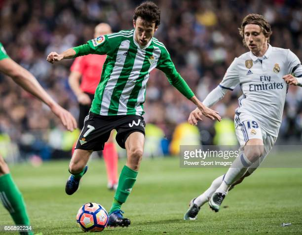 Ruben Pardo Gutierrez of Real Betis in action during their La Liga match between Real Madrid and Real Betis at the Santiago Bernabeu Stadium on 12...
