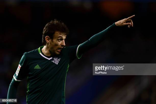 Ruben Pardo midfielder of Real Betis Balompie reacts during the La Liga Santander match between Deportivo de La Coruña and Real Betis Balompie at...