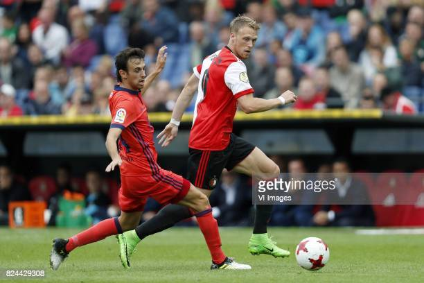 Ruben Pardo of Real Sociedad de Futbol Nicolai Jorgensen of Feyenoord during the preseason friendly match between Feyenoord Rotterdam and Real...