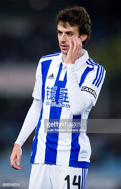 Ruben Pardo of Real Sociedad reacts during the La Liga match between Real Sociedad de Futbol and RC Deportivo La Coruna at Estadio Anoeta on January...