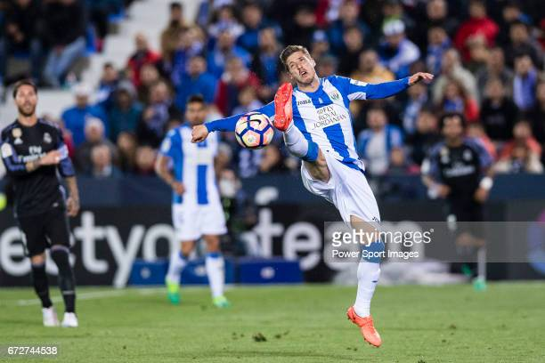 Ruben Perez of Deportivo Leganes in action during their La Liga match between Deportivo Leganes and Real Madrid at the Estadio Municipal Butarque on...