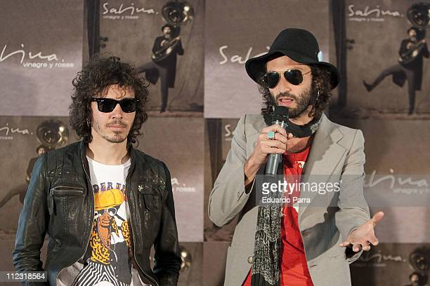 Ruben Pozo and Leiva from the spanish band Pereza attend the delivery of the gold disc to Joaquin Sabina at ME hotel on April 8 2010 in Madrid Spain