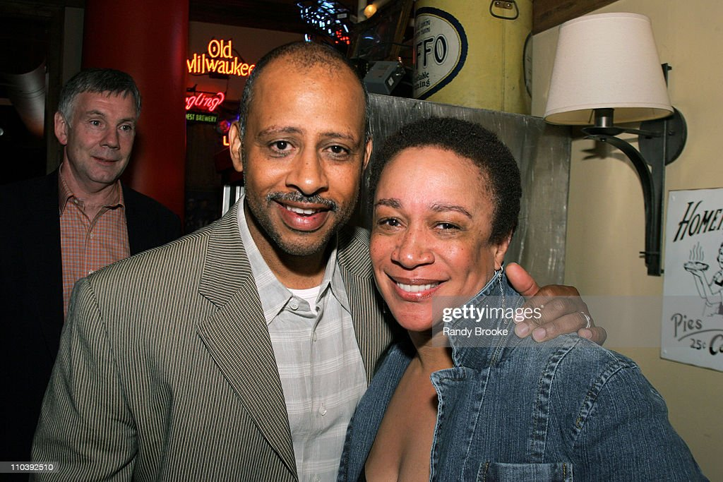 Ruben SantiagoHudson and S Epatha Merkerson during 'Birdie Blue' OffBroadway Opening Night After Party at Spanky's BBQ in New York City New York...