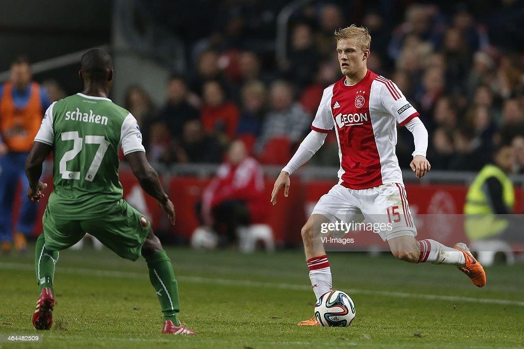 Ruben Schaken of Feyenoord Nicolai Boilesen of Ajax during the Dutch cup match between Ajax Amsterdam and Feyenoord at Amsterdam Arena on January 22...