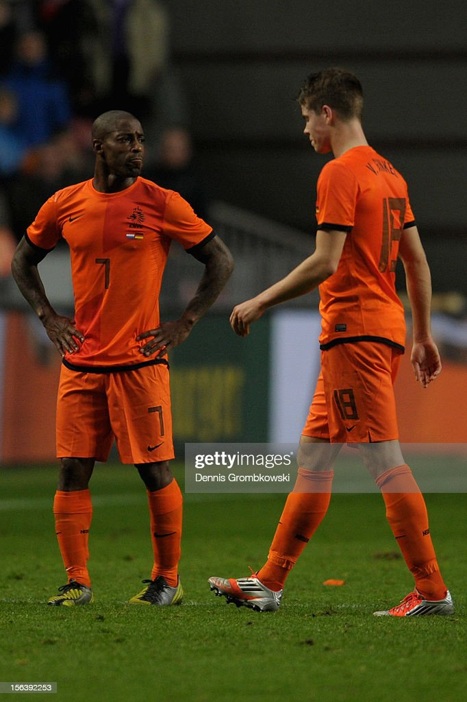 Ruben Schaken of Netherlands and teammate Marco van Ginkel look dejected after the International Friendly match between Netherlands and Germany at Amsterdam Arena on November 14, 2012 in Amsterdam, Netherlands.