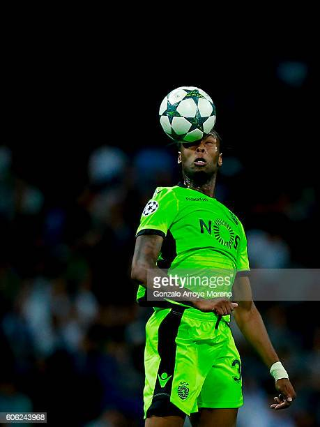 Ruben Semedo of Sporting CP saves on a header during the UEFA Champions League group stage match between Real Madrid CF and Sporting Clube de...