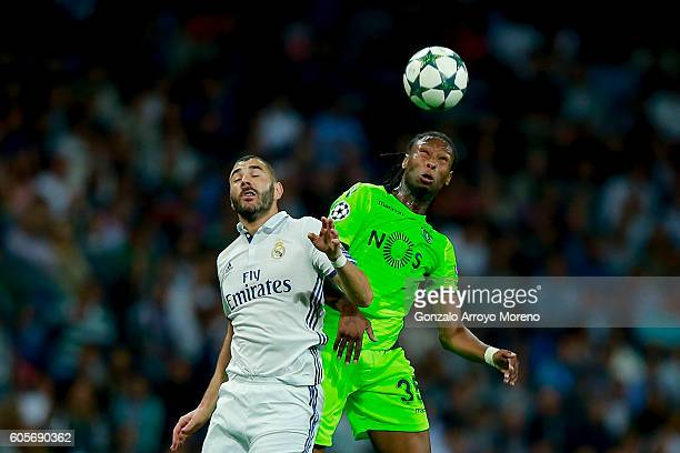 Ruben Semedo of Sporting CP wins the header before Karim Benzema of Real Madrid CFduring the UEFA Champions League group stage match between Real...