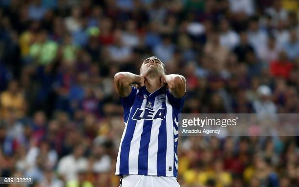 Ruben Sobrino of Deportivo Alaves gestures after the Copa Del Rey Final between FC Barcelona and Deportivo Alaves at Vicente Calderon Stadium on May...