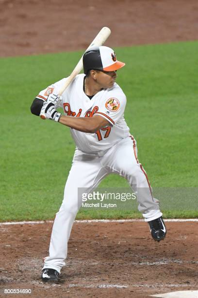 Ruben Tejada of the Baltimore Orioles prepares for a pitch during a baseball game against the Cleveland Indians at Oriole park at Camden Yards on...
