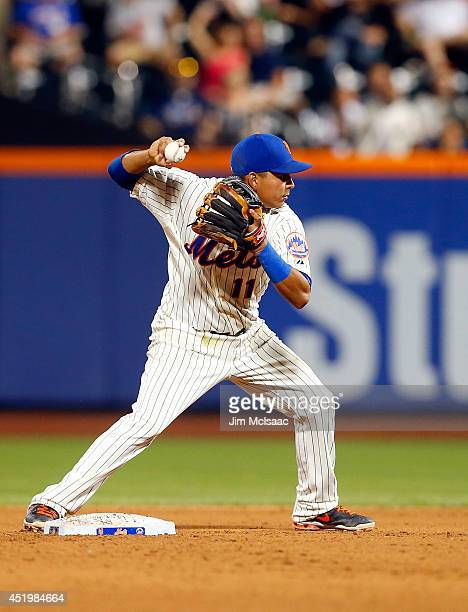 Ruben Tejada of the New York Mets in action against the Atlanta Braves at Citi Field on July 9 2014 in the Flushing neighborhood of the Queens...