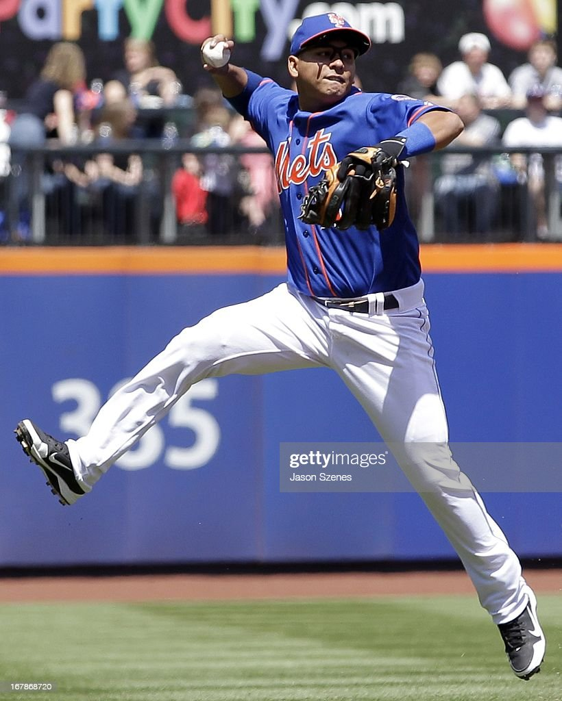 <a gi-track='captionPersonalityLinkClicked' href=/galleries/search?phrase=Ruben+Tejada&family=editorial&specificpeople=5754705 ng-click='$event.stopPropagation()'>Ruben Tejada</a> #11 of the New York Mets is seen on the field in the first inning against the Philadelphia Phillies at Citi Field on April 27, 2013 in the Flushing neighborhood of the Queens borough of New York City. (Photo by Jason Szenes/Getty Images