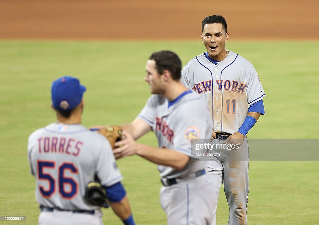 Ruben Tejada #11 of the New York Mets reacts after the game ends against the Miami Marlins at Marlins Park on October 3, 2012 in Miami, Florida. The Mets defeated the Marlins 4-2.