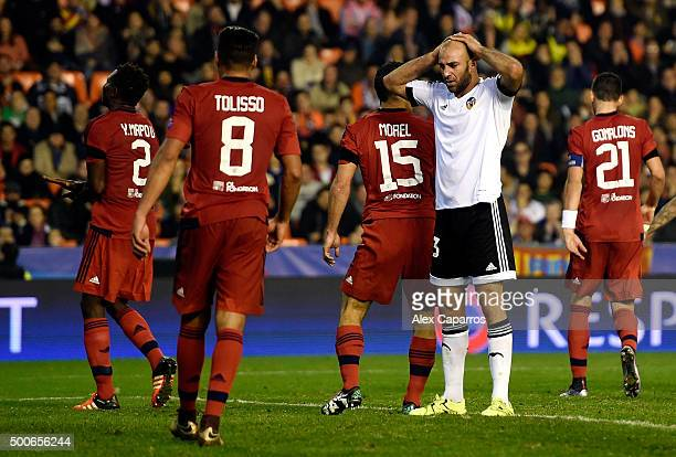 Ruben Vezo of Valencia looks dejected during the UEFA Champions League Group H match between Valencia CF and Olympique Lyonnais at Estadio Mestalla...
