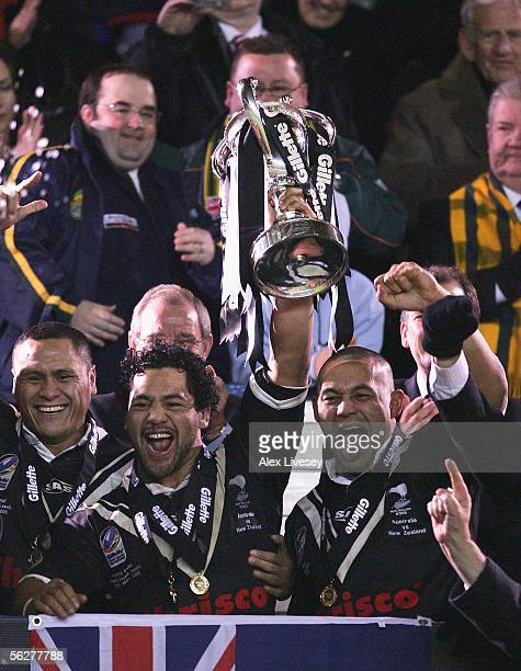 Ruben Wiki of New Zealand lifts the Gillette Tri Nations Trophy with Paul Rauhihi after they defeated Australia in the Gillette Tri Nations Final...