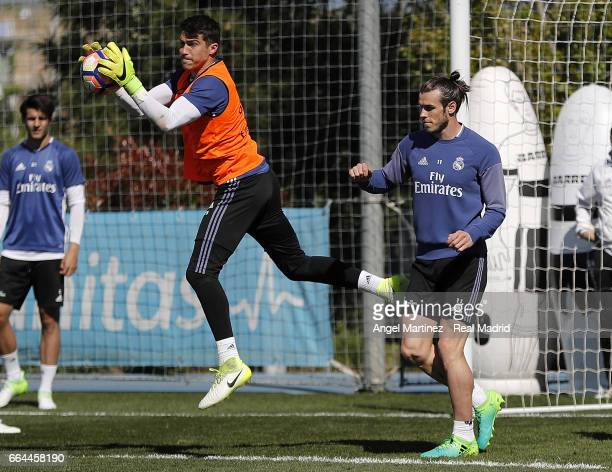 Ruben Yanez and Gareth Bale of Real Madrid in action during a training session at Valdebebas training ground on April 4 2017 in Madrid Spain