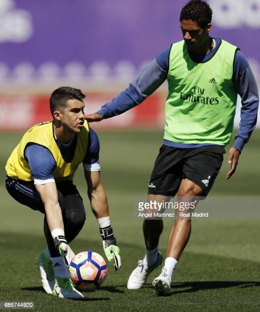 Ruben Yanez and Raphael Varane of Real Madrid in action during a training session at Valdebebas training ground on May 20 2017 in Madrid Spain