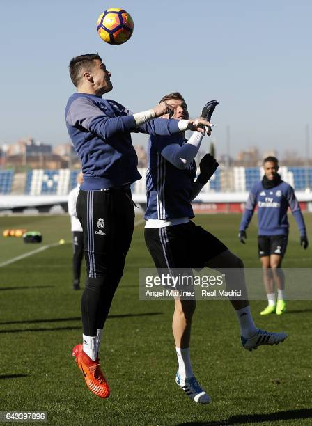 Ruben Yanez and Toni Kroos of Real Madrid in action during a training session at Valdebebas training ground on February 21 2017 in Madrid Spain