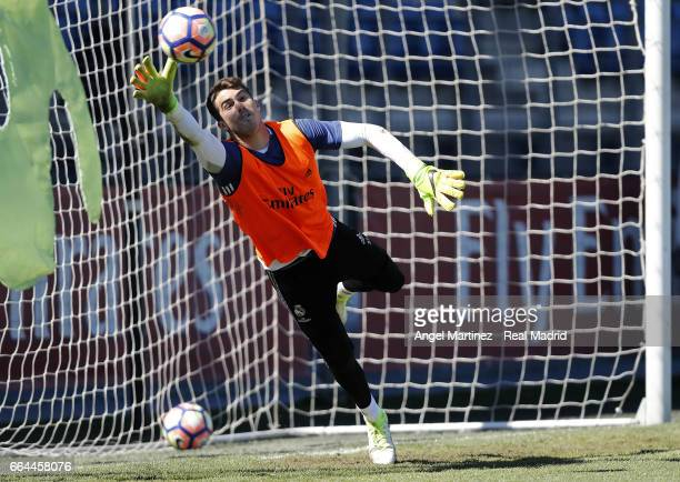 Ruben Yanez of Real Madrid in action during a training session at Valdebebas training ground on April 4 2017 in Madrid Spain