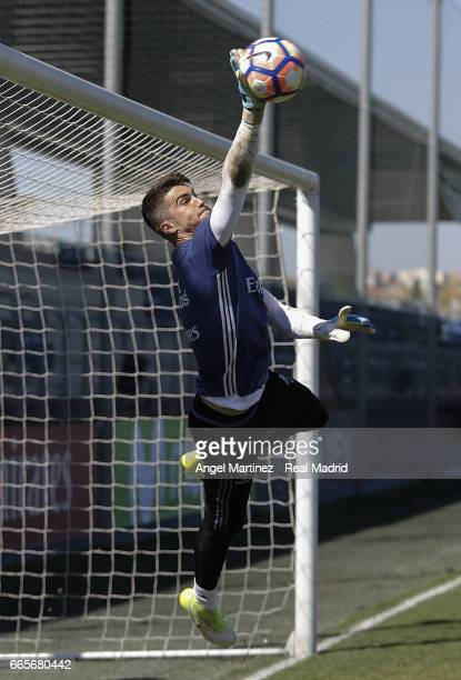 Ruben Yanez of Real Madrid in action during a training session at Valdebebas training ground on April 7 2017 in Madrid Spain