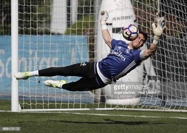 Ruben Yanez of Real Madrid in action during a training session at Valdebebas training ground on April 14 2017 in Madrid Spain