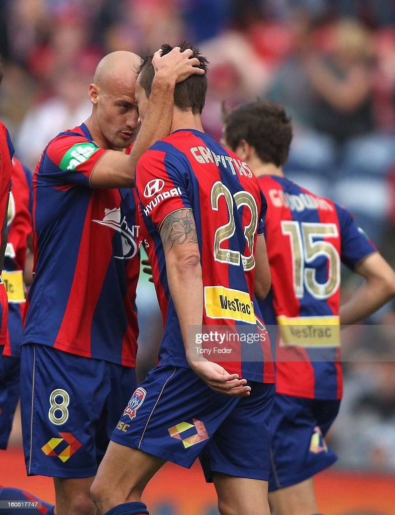 Ruben Zadkovich and Ryan Griffiths of the Jets celebrate after scoring a penalty during the round 19 ALeague match between the Newcastle Jets and...
