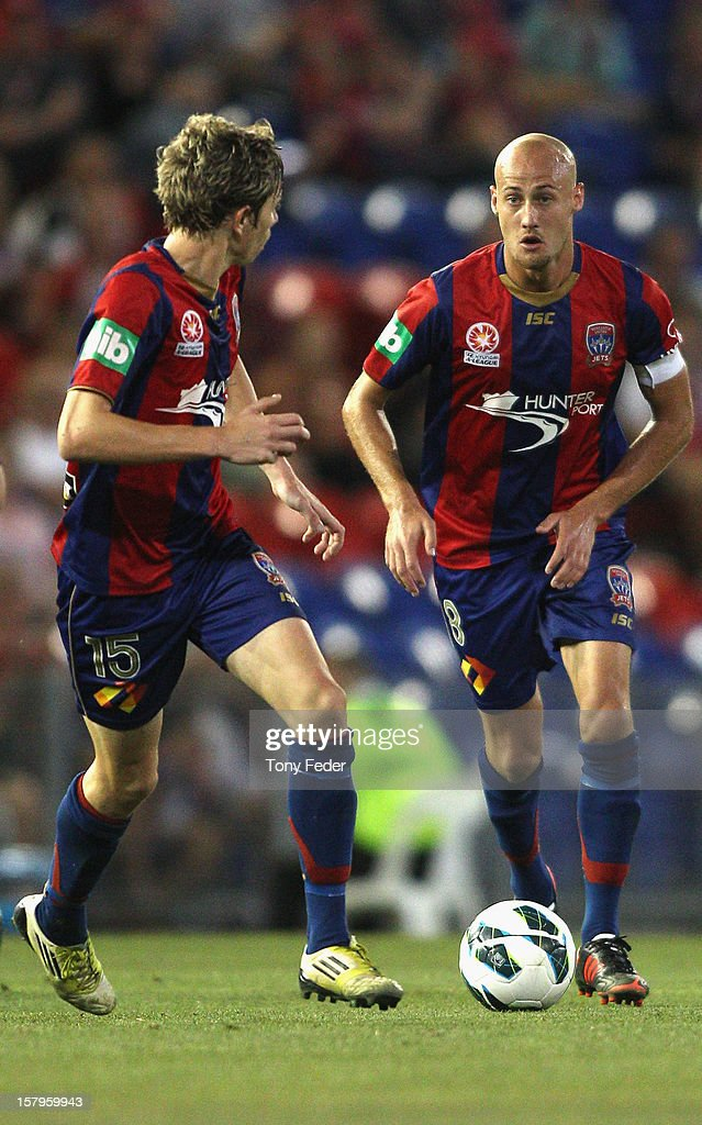 Ruben Zadkovich of the Jets looks to pass the ball during the round ten A-League match between the Newcastle Jets and the Central Coast Mariners at Hunter Stadium on December 8, 2012 in Newcastle, Australia.