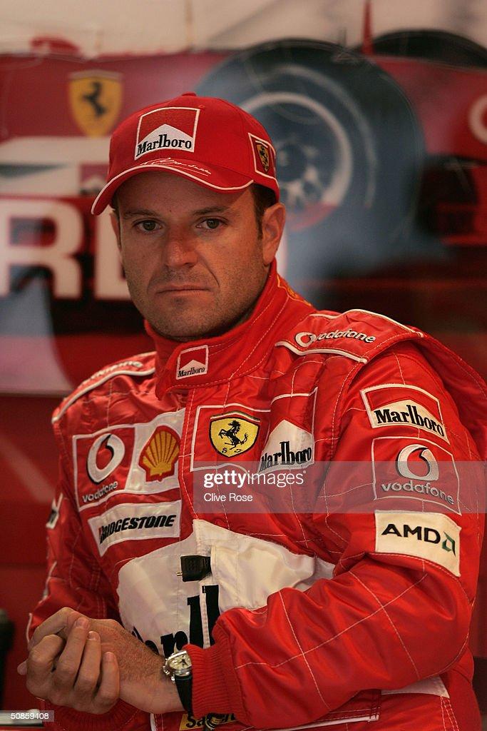 Rubens Barrichello of Brazil and Ferrari sits in the pits during practice for the Monaco F1 Grand Prix May 20, 2004, in Monte Carlo, Monaco.