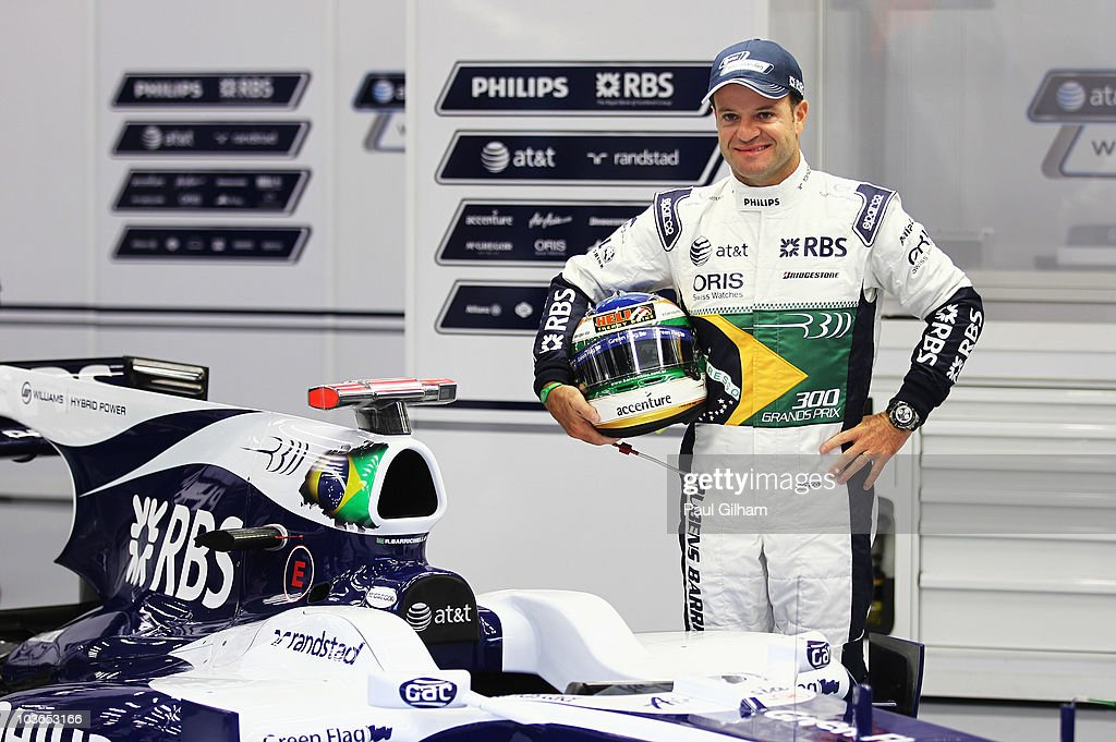 Rubens Barrichello of Brazil and Williams appears with specially designed overalls and helmet to commerorate his 300th Grand Prix before practice for the Belgian Formula One Grand Prix at the Circuit of Spa Francorchamps on August 27, 2010 in Spa Francorchamps, Belgium.