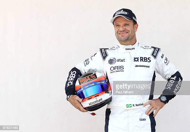 Rubens Barrichello of Brazil and Williams attends the drivers official portrait session during previews to the Bahrain Formula One Grand Prix at the...