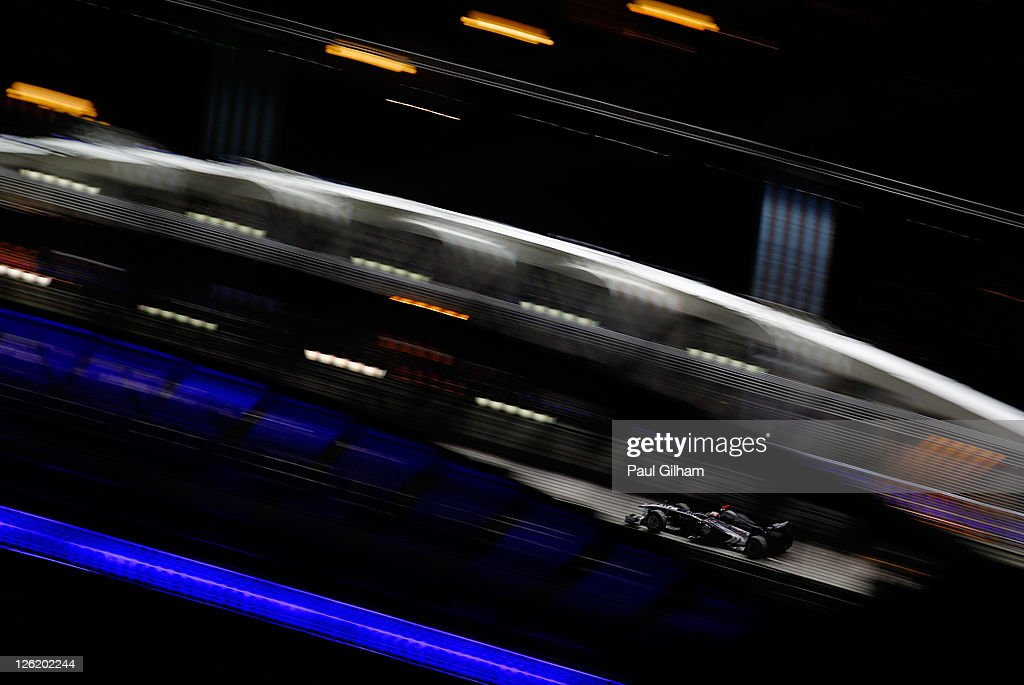 Rubens Barrichello of Brazil and Williams drives during practice for the Singapore Formula One Grand Prix at the Marina Bay Street Circuit on September 23, 2011 in Singapore.