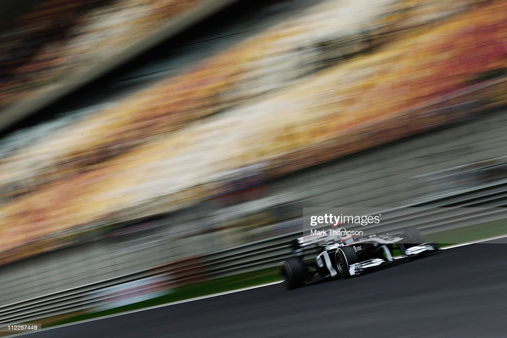 Rubens Barrichello of Brazil and Williams drives during the final practice session prior to qualifying for the Chinese Formula One Grand Prix at the Shanghai International Circuit on April 16, 2011 in Shanghai, China.