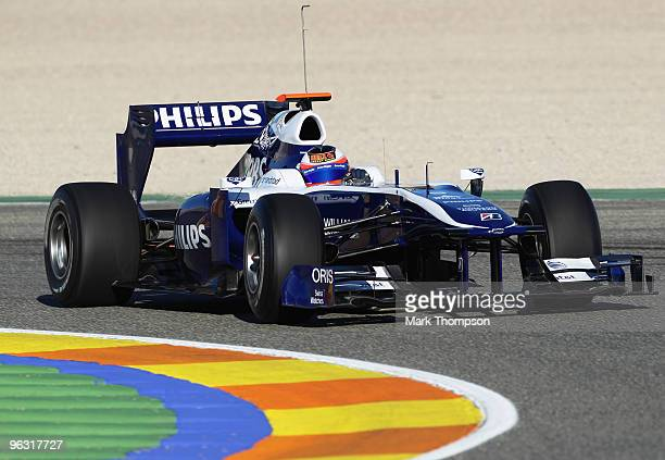 Rubens Barrichello of Brazil and Williams drives during winter testing at the Ricardo Tormo Circuit on February 1 2010 in Valencia Spain