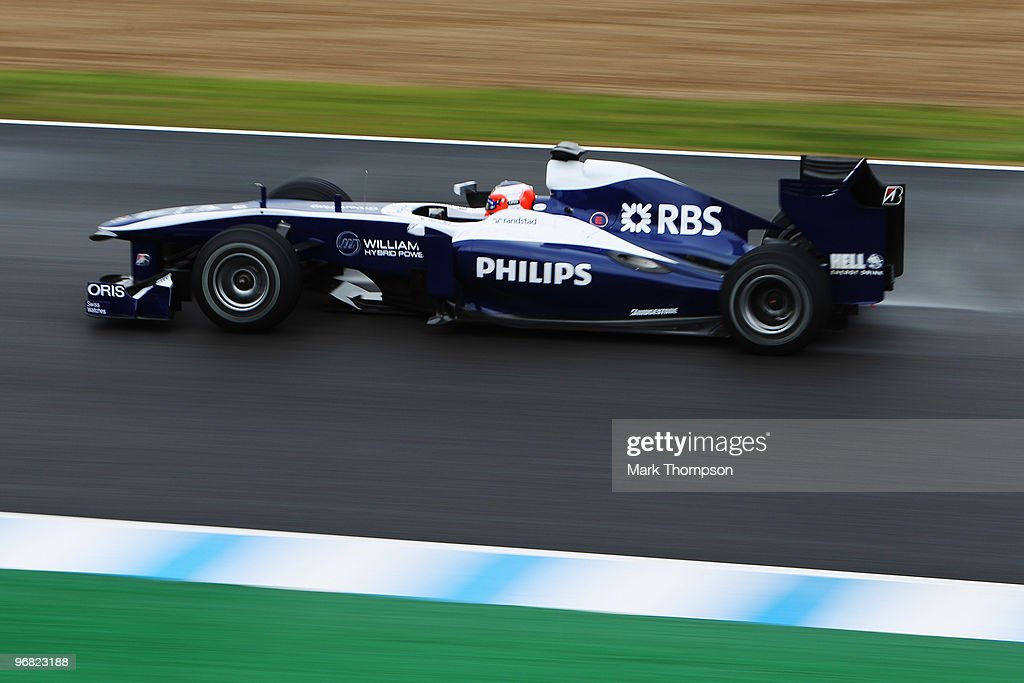 Rubens Barrichello of Brazil and Williams drives during winter testing at the Circuito De Jerez on February 18, 2010 in Jerez de la Frontera, Spain.