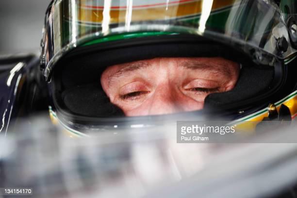 Rubens Barrichello of Brazil and Williams prepares to drive during the Brazilian Formula One Grand Prix at the Autodromo Jose Carlos Pace on November...