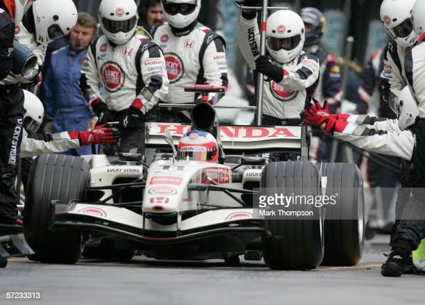 Rubens Barrichello of Brazil drives his Honda after a pit stop during the Australian Formula One Grand Prix at the Albert Park Circuit on April 02...