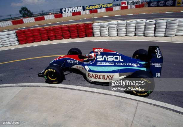 Rubens Barrichello of Brazil driving a Jordan 193 with a Hart 1035 35 V10 engine for Sasol Jordan in action during the South African Grand Prix at...