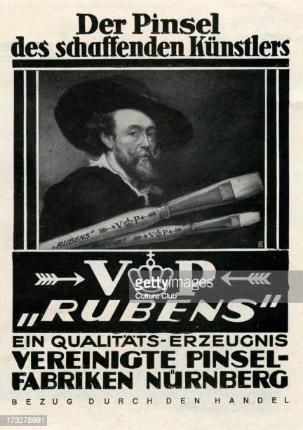 after a German advertisment in which Peter Paul Rubens is used as art supplies branding Caption reads 'Der Pinsel des schaffenden Kunstlers'