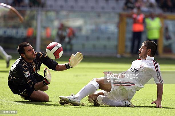 Rubens Fernando Rubinho of Genoa in action against Gennaro Gattuso of AC Milanl during the Serie A match between Genoa and AC Milan at the Stadio...