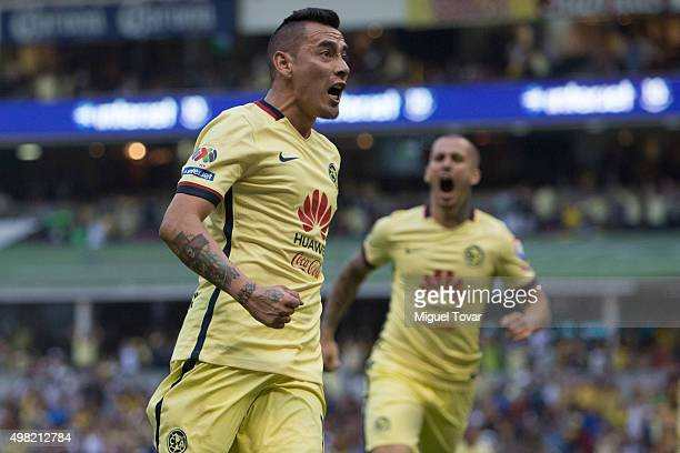 Rubens Sambueza of America celebrates after scoring the first goal of his team during the 17th round match between America and Pumas UNAM as part of...