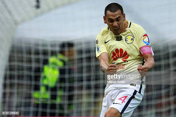 Rubens Sambueza of America celebrates after scoring the third goal of his team during the 15th round match between America and Santos Laguna as part...