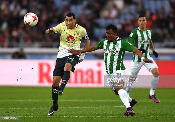 Rubens Sambueza of Club America and Farid Diaz of Atletico Nacional in action during the FIFA Club World Cup 3rd Place match between Club America and...