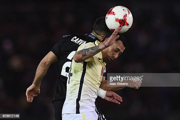 Rubens Sambueza of Club America competes for the ball against Daniel Carvajal of Real Madrid during the FIFA Club World Cup Japan semifinal match...