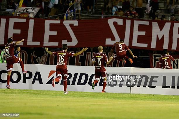 Rubert Jose Quijada of Venezuela's Caracas FC celebrates after scoring against Argentina's Huracan during their Copa Libertadores 2016 football match...