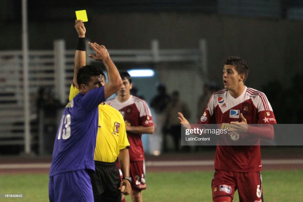 Rubert Quijada of Caracas FC during a match between Caracas FC and Deportivo La Guaira as part of the Apertura 2013 at Brígido Iriarte Stadium on September 25, 2013 in Caracas, Venezuela.