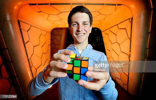Rubiks Cube world champion Feliks Zemdegs poses for a photo on July 31 2013 in Melbourne Australia Zemdegs has returned back to Australia after...