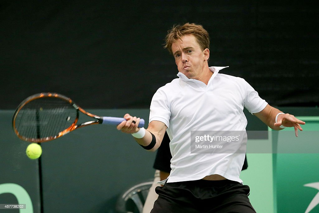 Rubin Statham of New Zealand in action in his match against <a gi-track='captionPersonalityLinkClicked' href=/galleries/search?phrase=Tsung-Hua+Yang&family=editorial&specificpeople=4835216 ng-click='$event.stopPropagation()'>Tsung-Hua Yang</a> of Chinese Taipaei during day one of the Davis Cup tie between New Zealand and Chinese Taipaei on October 24, 2014 at Wilding Park in Christchurch, New Zealand.